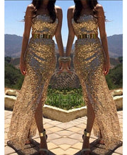 Load image into Gallery viewer, EASTERN STAR Gold Sequins Prom/Party Dress