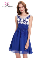 Load image into Gallery viewer, Bridesmaid Dresses Grace Karin  2018 New Style Appliques Chiffon  Short Wedding Vestidos Blue Elegant Bridesmaids Dress