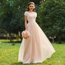 Load image into Gallery viewer, Dressv scoop neck a line bridesmaid dress zipper-up short sleeves lace wedding party women floor length bridesmaid dresses