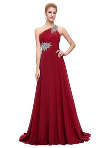 Grace Karin Evening Dresses Long One Shoulder Floor Length Chiffon Formal Prom Dress Gowns Robe de Soiree Longue 2018