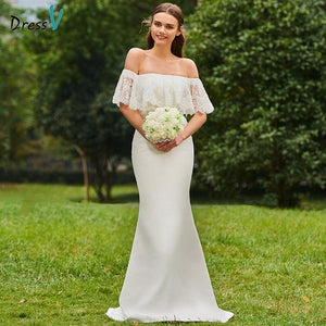 Dressv ivory wedding dress off the shoulder half sleeves bridal mermaid elegant outdoor&church lace trumpet wedding dress