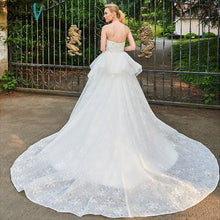 Load image into Gallery viewer, Dressv wedding dress cathedral train strapless rufflues bridal sleeveless outdoor&church lace ball gown wedding dresses