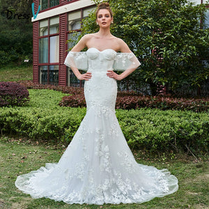 Dressv ivory wedding dress off the shoulder court train bridal mermaid elegant outdoor&church lace trumpet lace wedding dresses