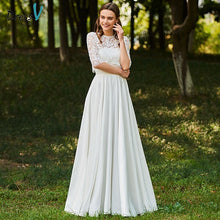 Load image into Gallery viewer, Dressv ivory wedding dress scoop neck a line half sleeves bridal button elegant outdoor&church lace floor length wedding dresses