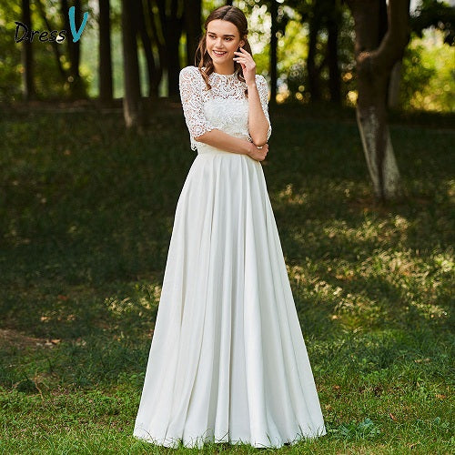 Dressv ivory wedding dress scoop neck a line half sleeves bridal button elegant outdoor&church lace floor length wedding dresses