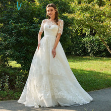 Load image into Gallery viewer, Dressv ivory wedding dress scoop neck short sleeveless bridal elegant outdoor&church appliques button ball gown wedding dresses