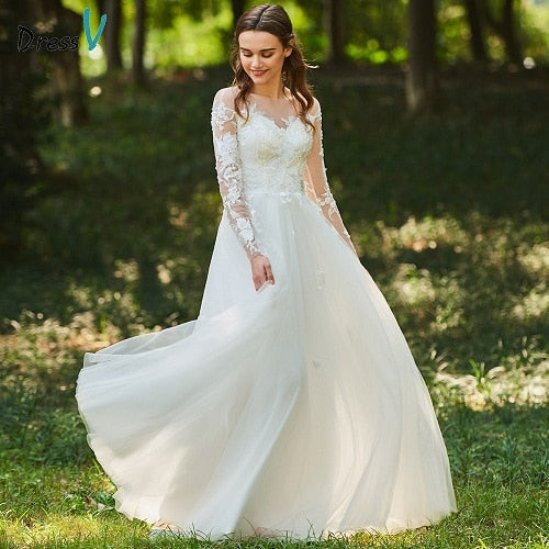 Dressv ivory wedding dress scoop neck zipper up a line long sleeves bridal lace elegant outdoor&church custom wedding dresses