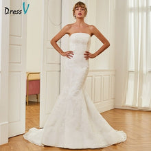 Load image into Gallery viewer, Dressv ivory elegant strapless wedding dress mermaid floor length sleeveless bridal outdoor&church lace trumpet wedding dresses