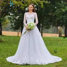 Load image into Gallery viewer, Dressv ivory wedding dress scoop neck long sleeves bridal backless elegant outdoor&church beading lace a line wedding dresses
