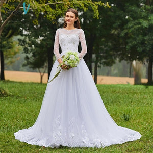 Dressv ivory wedding dress scoop neck long sleeves bridal backless elegant outdoor&church beading lace a line wedding dresses