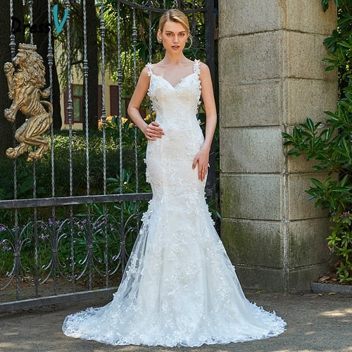 Dressv ivory wedding dress court train spaghetti straps mermaid backless bridal outdoor&church lace trumpet wedding dresses