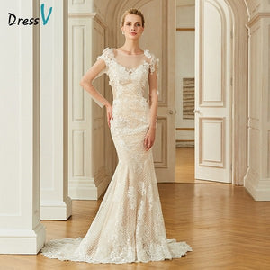 Dressv appliques elegant scoop neck wedding dress long sleeves floor length button bridal outdoor&church trumpet wedding dresses