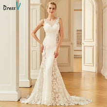 Load image into Gallery viewer, Dressv lace elegant scoop neck wedding dress sleeveless floor length backless bridal outdoor&church trumpet wedding dresses