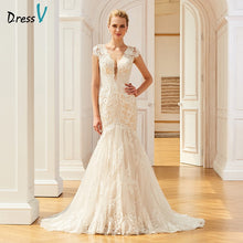 Load image into Gallery viewer, Dressv appliques elegant v neck wedding dress mermaid floor length cap sleeves bridal outdoor&church trumpet wedding dresses