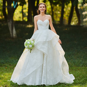 Dressv ivory wedding dress sweetheart neck ruffles lace bridal sleeveless outdoor&church backless ball gown wedding dresses
