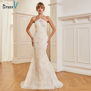 Dressv elegant lace halter neck wedding dress sleeveless sweep train backless bridal outdoor&church trumpet wedding dresses