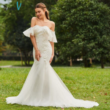 Load image into Gallery viewer, Dressv ivory wedding dress strapless sweep train half sleeves bridal mermaid elegant outdoor&church lace trumpet wedding dresses