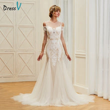 Load image into Gallery viewer, Dressv appliques elegant scoop neck wedding dress 3/4 sleeves floor length beading bridal outdoor&church trumpet wedding dresses