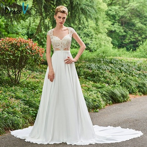 Dressv wedding dress chapel train v neck a line bridal tiered cap sleeves outdoor&church floor length lace wedding dresses