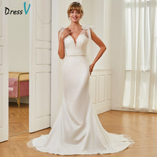 Load image into Gallery viewer, Dressv trumpet v neck wedding dress sleeveless court train floor length bridal outdoor&church appliques mermaid wedding dresses