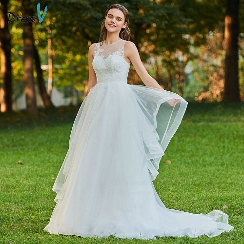 Dressv ivory wedding dress scoop neck a line bridal button elegant outdoor&church  sweep train appliques lace wedding dresses