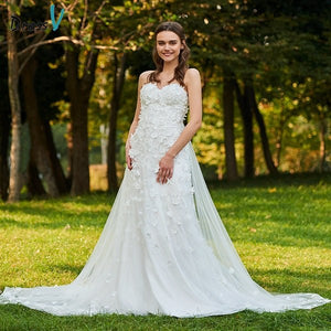 Dressv elegant sweetheart neck wedding dress a line floor length sleeveless bridal outdoor&church appliques lace wedding dresses