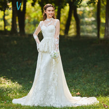 Load image into Gallery viewer, Dressv ivory wedding dress high neck a line bridal long sleeves button elegant outdoor&church beading appliques wedding dresses