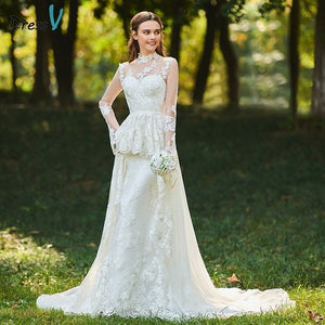 Dressv ivory wedding dress high neck a line bridal long sleeves button elegant outdoor&church beading appliques wedding dresses
