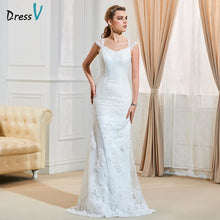 Load image into Gallery viewer, Dressv ivory elegant sweep train wedding dress sheath cap sleeves floor length bridal outdoor&church appliques wedding dresses
