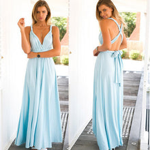 Load image into Gallery viewer, Women Convertible Multi Way Wrap Maxi Dress Backless Sexy Beach Sundress Bridesmaid Party Dresses Bandage Bodycon Long Prom Gown