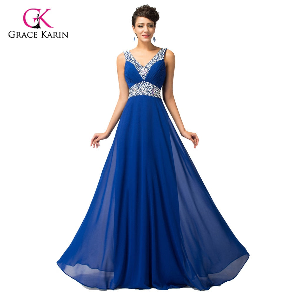 Sequin Bridesmaid Dresses Grace Karin 2018 cheap Long Chiffon Royal Blue Brides Maid Dresses under 50 robe de mariee