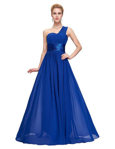 Long Bridesmaid Dresses 2018 Grace Karin Women One shoulder Royal Blue Purple Chiffon Cheap Wedding Party Dresses under 50