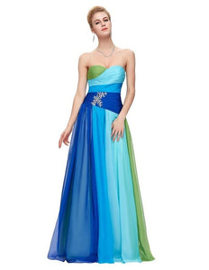Modest Chiffon Peacock Long Bridesmaid Dresses 2018 Blue Red Bandage With Stones cheap bridesmaids dresses vestido de festa