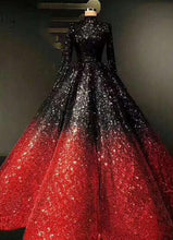 Load image into Gallery viewer, Long Sleeve Ombre Beautiful Ball Gown