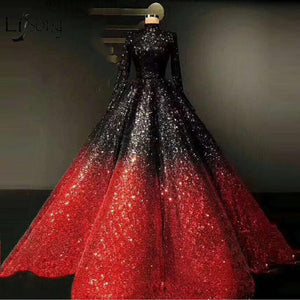 Long Sleeve Ombre Beautiful Ball Gown