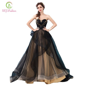 SSYFashion New Banquet Elegant Evening Dress Sexy Strapless Sleeveless Long Black Lace Appliques Prom Party Gown Robe De Soiree