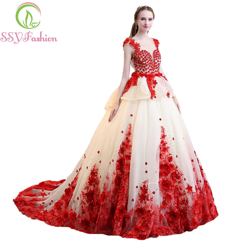 SSYFashion New High-end Red Lace Flower Prom Dress The Bride Luxury Romantic Photography Appliques with Beading Party Ball Gown