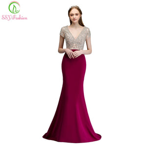 SSYFashion New High-end Custom Evening Dress Luxurious Purple Banquet Beading V-neck Sexy Mermaid Prom Party Gown Robe De Soiree