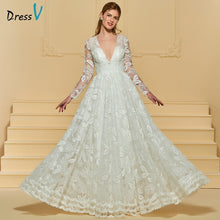 Load image into Gallery viewer, Dressv v neck elegant a line lace wedding dress floor length long sleeves bridal outdoor&church beach wedding dresses
