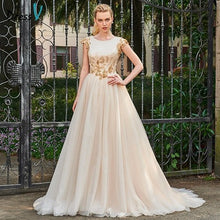 Load image into Gallery viewer, Dressv wedding dress chapel train scoop neck a line beading bridal cap sleeves outdoor&church appliques button wedding dresses