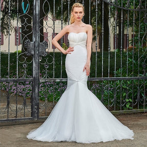 Dressv ivory wedding dress sweetheart neck sweep train bridal mermaid elegant outdoor&church lace trumpet wedding dresses