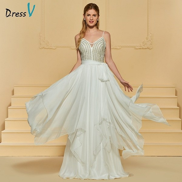 Dressv ivory elegant a line beach wedding dress spaghetti straps beading floor length bridal outdoor&church wedding dresses