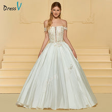 Load image into Gallery viewer, Dressv elegant ball gown wedding dress off the shoulder appliques floor length bridal outdoor&church wedding dresses
