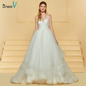 Dressv ivory elegant ball gown wedding dress scoop neck button appliques floor length bridal outdoor&church wedding dresses