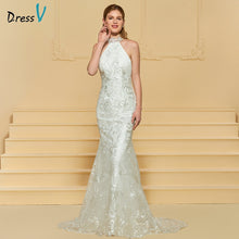 Load image into Gallery viewer, Dressv ivory elegant wedding dress high neck sweep train mermaid lace floor length bridal outdoor&church trumpet wedding dresses