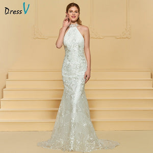 Dressv ivory elegant wedding dress high neck sweep train mermaid lace floor length bridal outdoor&church trumpet wedding dresses