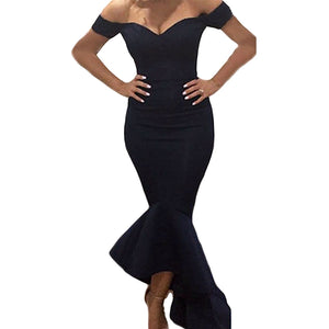 Top Sell Womens Off Shoulder V Back Backless Flouncing Mermaid Formal Prom Gowns Dress