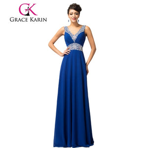 Spaghetti Strap Bridesmaid Dresses Grace Karin 2018 Floor Length Long Sequins Brides Maid Dresses Robe De Mariee Royal Blue