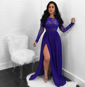 Women Ladies Embroidered Long Sleeve 2018 Plus Size Long Party Dress Evening Formal Prom Gown Wedding Maxi Dresses for Vestidos