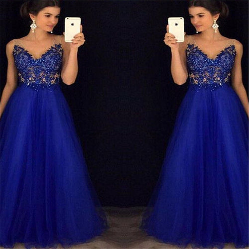 Beaded Blue CHANEL Prom/Ball Gown